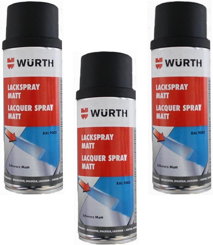 3x400ml Würth Farbe Lackspray Dose Schwarz Matt Tiefschwarz Ral 9005 Spraydose Auto