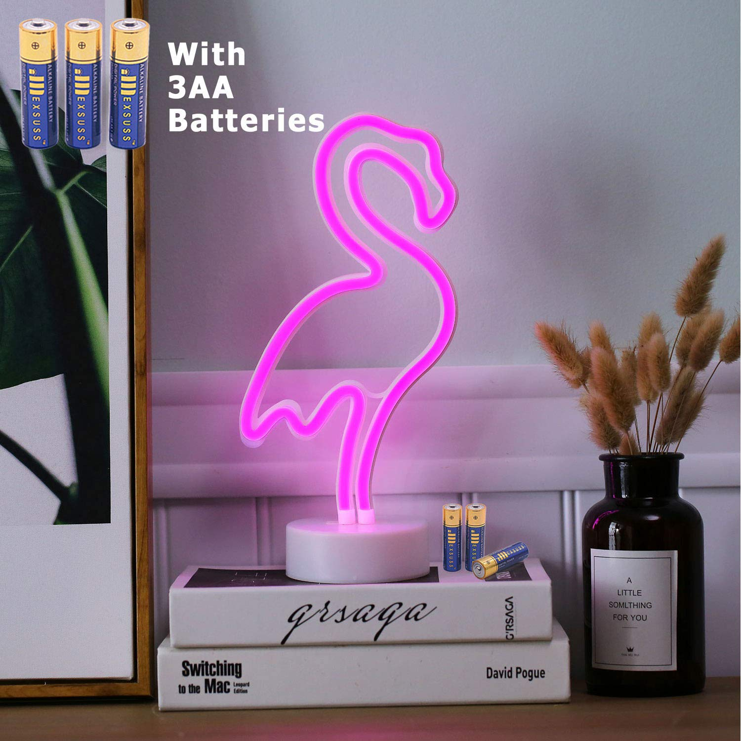 HONGM Flamingo Shape LED Neon Night Light with Base Pink Decorative Light Battery Powered Table Lamp for Kids Room Holiday Party Decorative