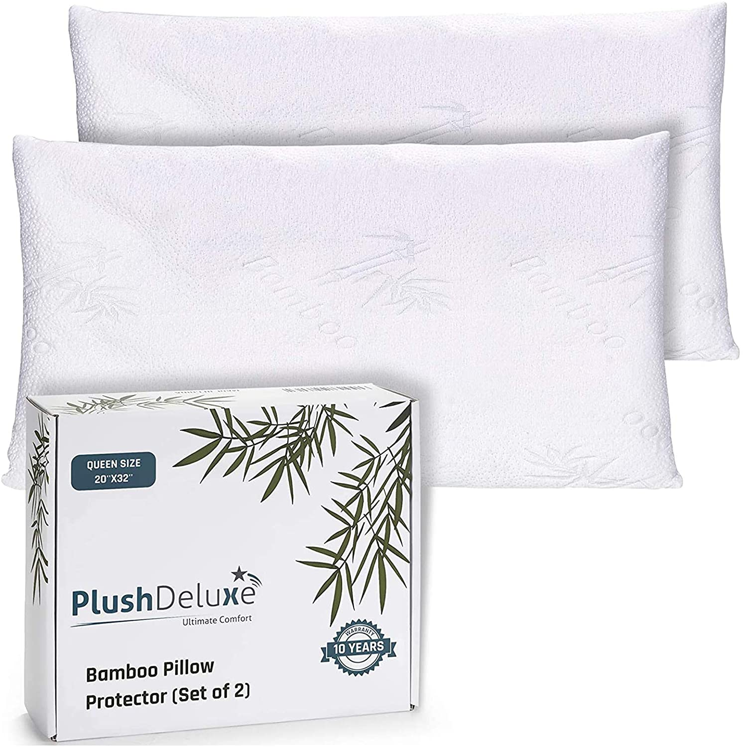 Amazon Com Premium Bamboo Queen Pillow Protector Covers Waterproof Allergy Dust And Mite Proof Zippered Protectors Pillowcase Zipper Cover Allergen Case Pack For Sleep Pillows Set Of 2 Kitchen Dining