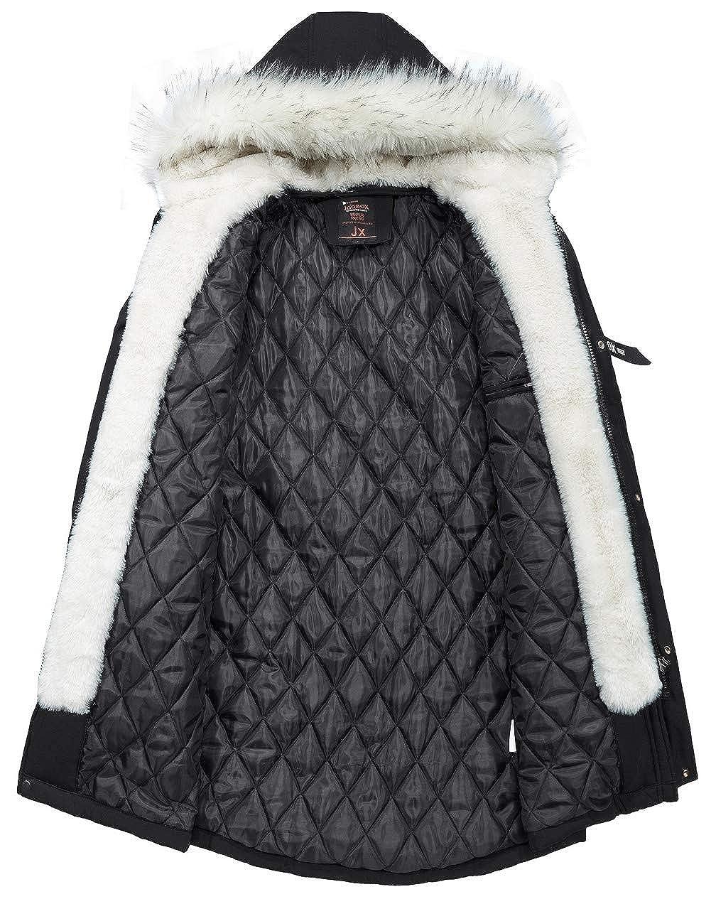 JIINN Homme Classique d'hiver a Capuche rembourré Manteaux Parka Épais Chaud Amovible Fourrure Veste Blousons Mens Hooded Coat A-noir