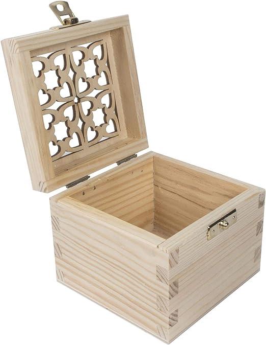 WooDeeDoo Caja de Madera Cuadrada pequeña con Cierre | Tapa Calada ...