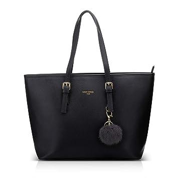 344a1ad0640fe LI HI Damen Handtasche Shopper Handtasche Schwarz Elegant Schwarze Groß  Damen Tasche für Büro Schule Einkauf mit