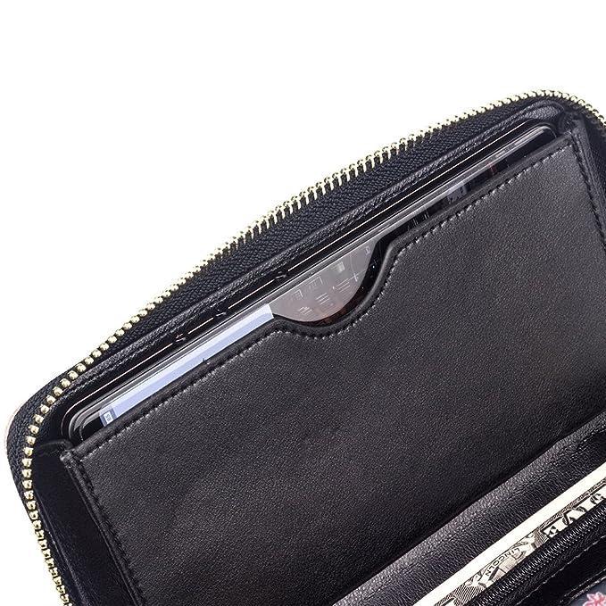 Amazon.com: Long Women Leather Wallet Purse Credit Card ...