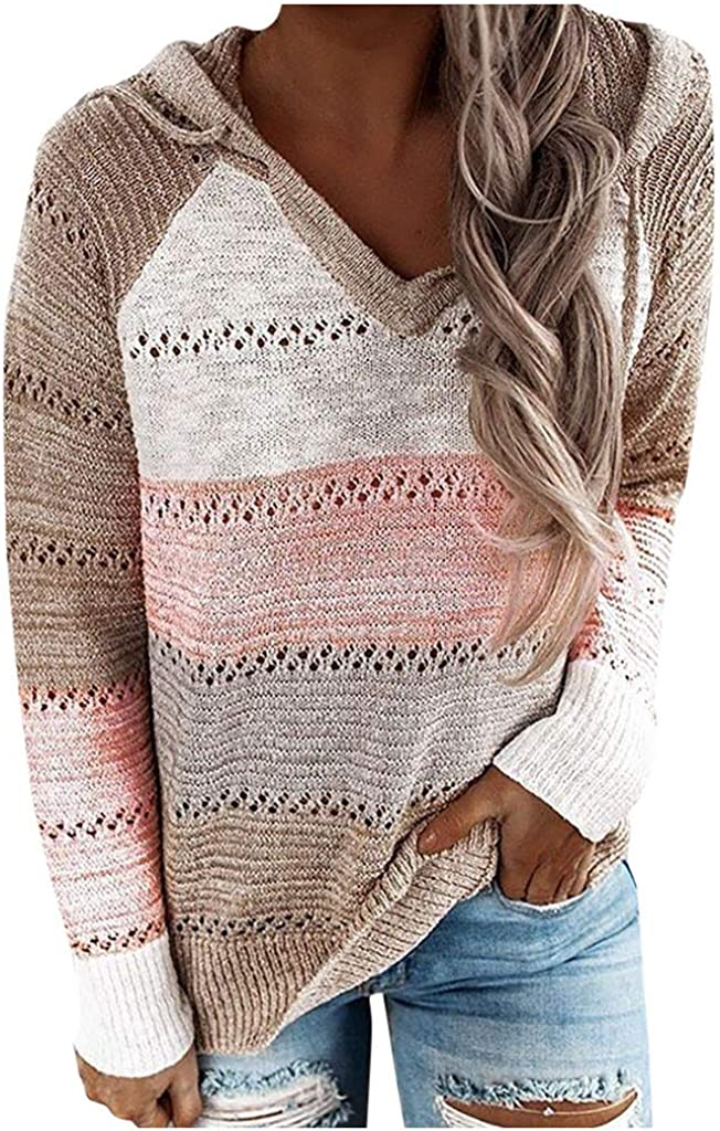 Sweaters for Women Plus Size,Wamajoly Winter Long Sleeves Loose Pullover Tops Turtleneck Striped Print Knit Sweater