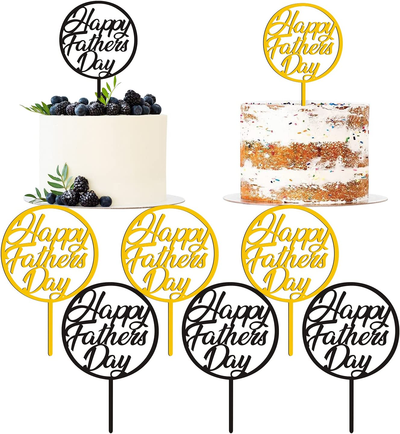 Happy Father's Day Cake Topper 12Pcs Fathers Day Decorations Cupcake Picks Gold&Black Acrylic Cake Topper Dad Party Food Decoration Father's Day Party Supplies Happy Birthday Fathers Day Party Favors