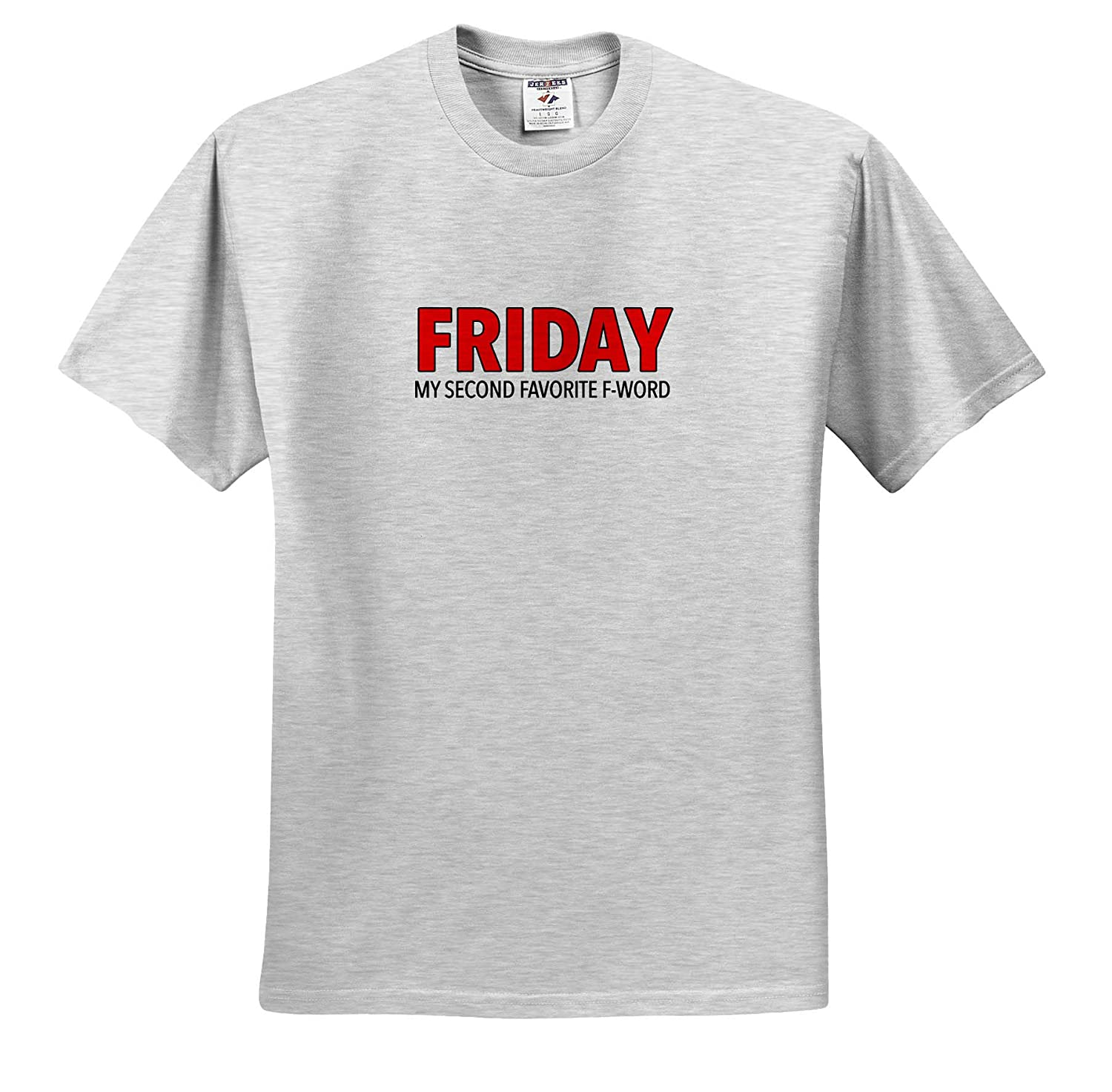 3dRose EvaDane ts/_321009 Friday My Second Favorite F Word Red Adult T-Shirt XL Funny Sayings