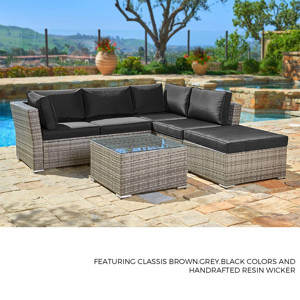 Suncrown outdoor sectional sofa 4 piece set all weather grey checkered wicker furniture with black washable seat cushions glass coffee table patio