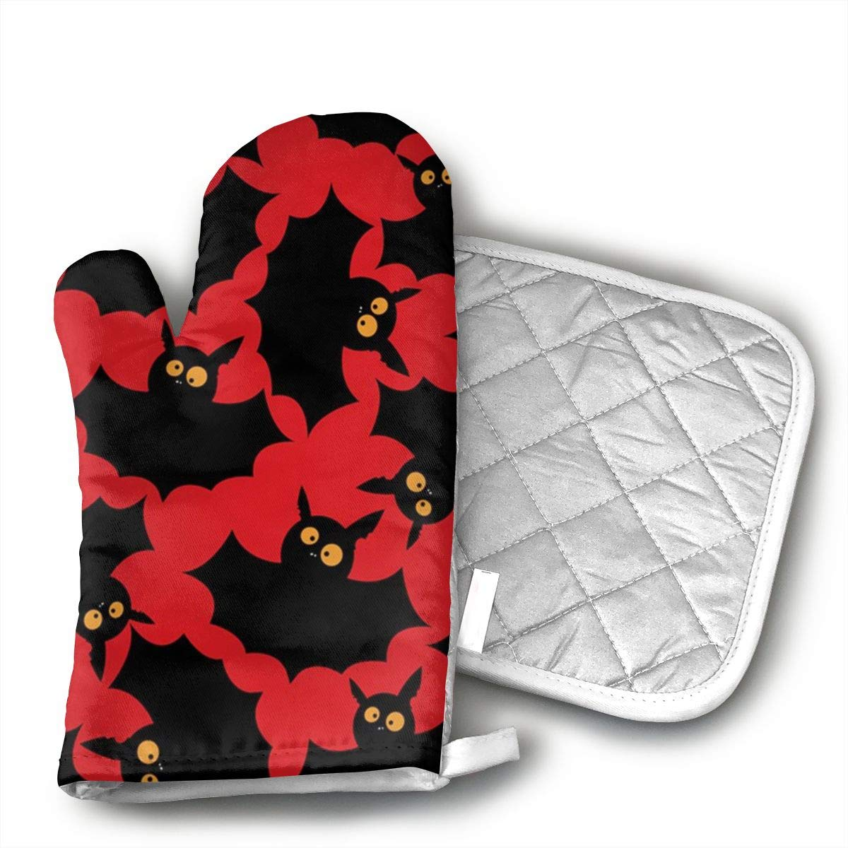 Wiqo9 Halloween Bats Oven Mitts and Pot Holders Kitchen Mitten Cooking Gloves,Cooking, Baking, BBQ.