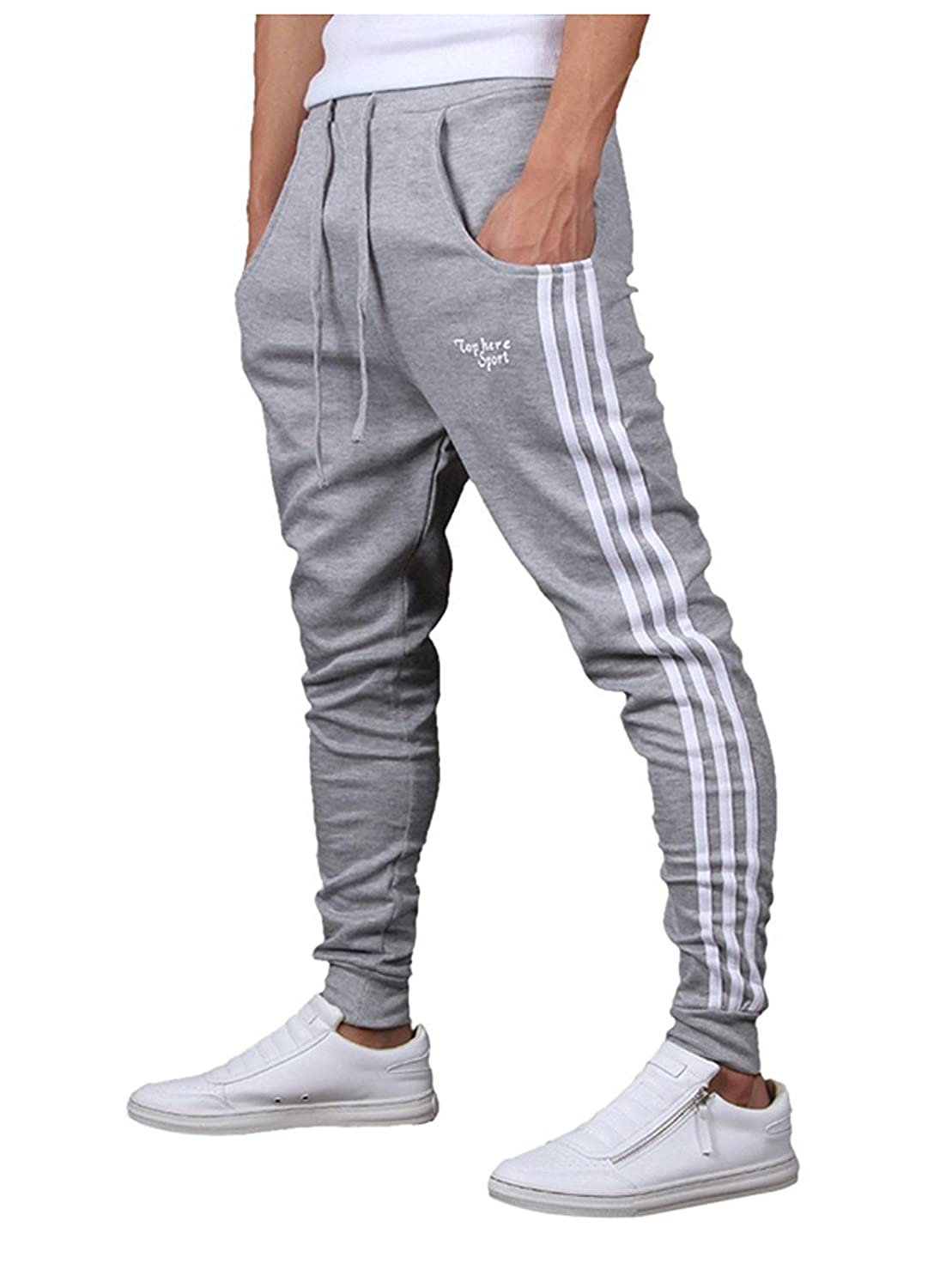 RUA Men's Track Pants Striped Close Bottom Elastic Skinny Gym Joggers Sweatpants