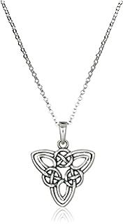 Sterling silver celtic knot pendant necklace 18 amazon jewelry sterling silver celtic triquetra knot triangle pendant necklace 18 aloadofball Image collections