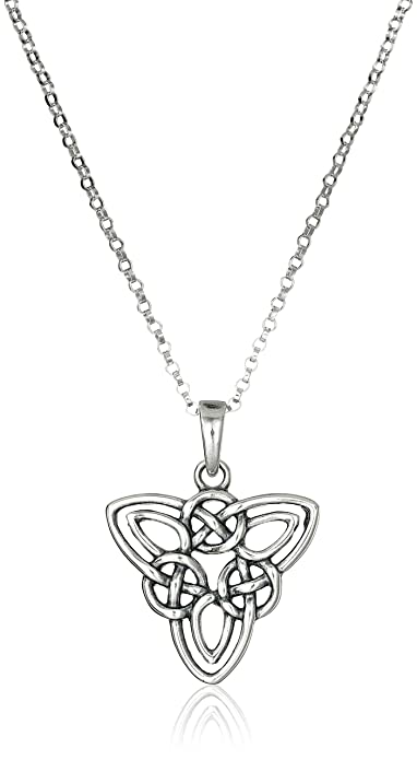 Amazon sterling silver oxidized celtic triquetra trinity knot sterling silver oxidized celtic triquetra trinity knot pendant necklace 18quot audiocablefo