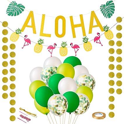 LIHAO Banner ALOHA Decorazioni Hawaiana Tropicali per Festa a Tema Party Hawaiian con Palloncini