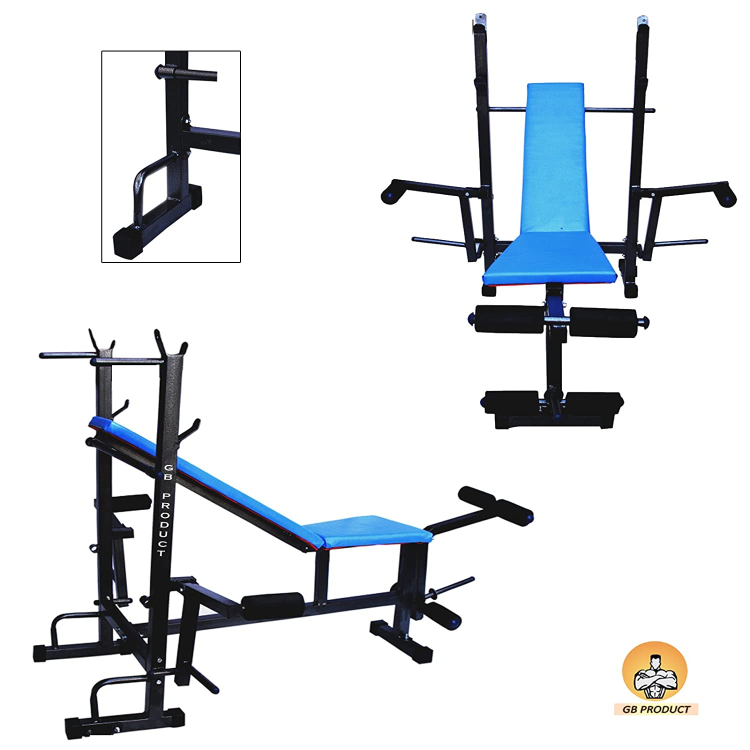 Bench 8 Part - 27: GB Product Combo70Kg Multipurpose 8 In 1 Gym Bench For Gym Exercise  (Blue_Small): Amazon.in: Sports, Fitness U0026 Outdoors