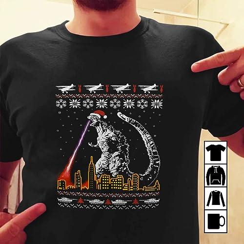 Amazoncom Godzilla Ugly Christmas Sweater T Shirt Long Sleeve