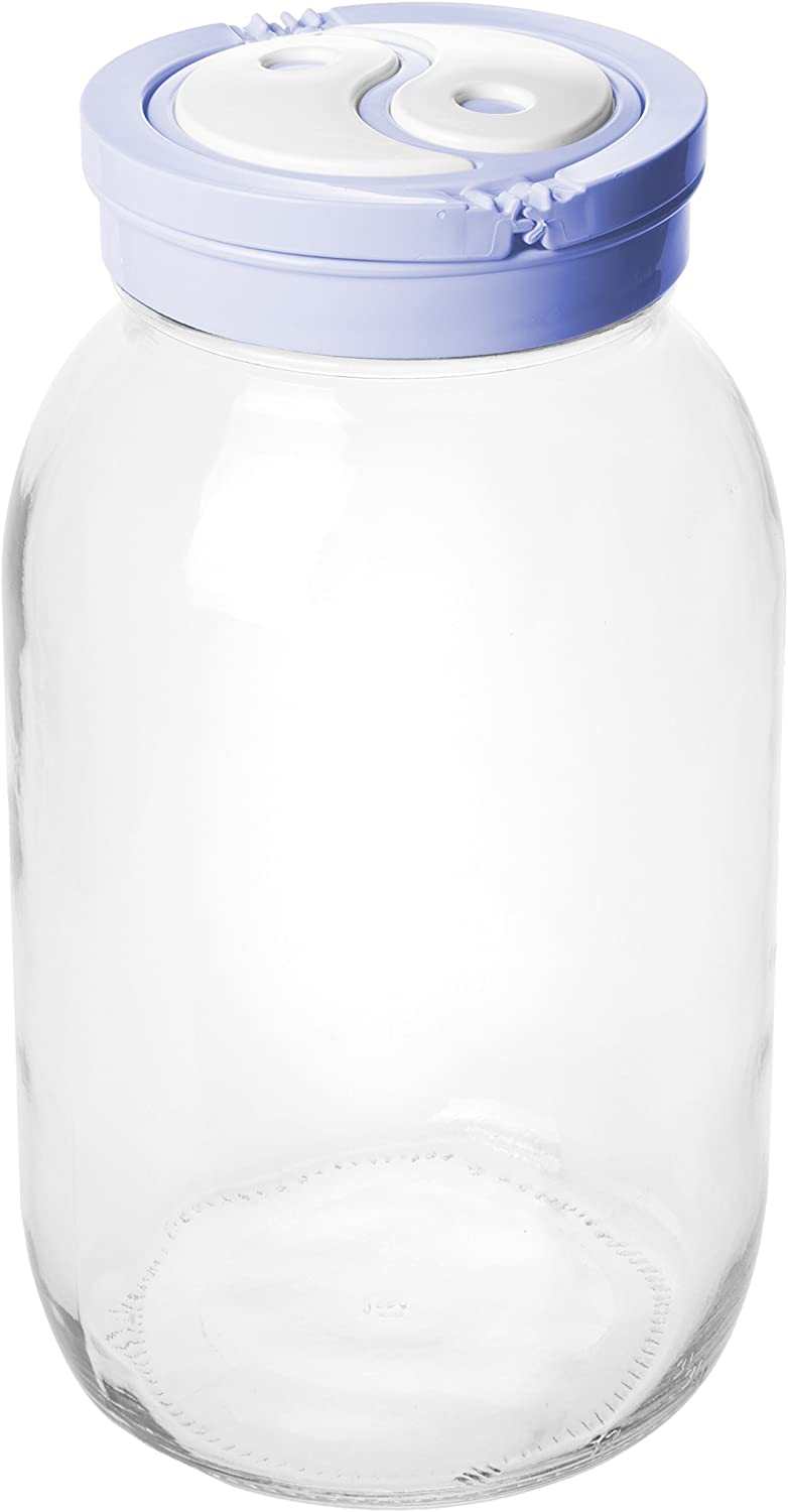 Modern Durable Glass Water Jug, Beverage and Food Storage Container with Lid, Medium, 2 Liters (Random Color)