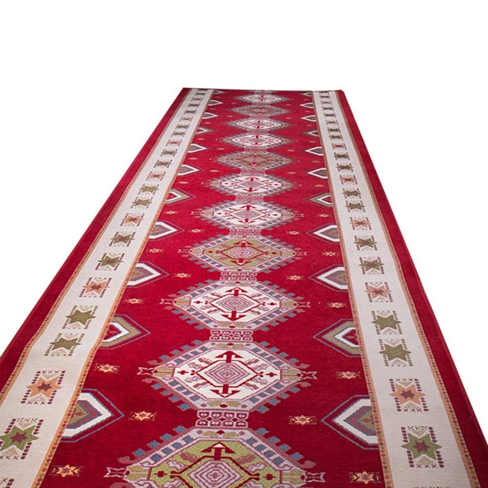 HAIPENG 廊下のカーペットランナー ラグ にとって 廊下 エリアラグ 幾何学 パターン 入り口 ラグ と 滑り止め バック カーペット カッタブル 赤 (色 : A, サイズ さいず : 0.9x6m) 0.9x6m A B07NWKVM85