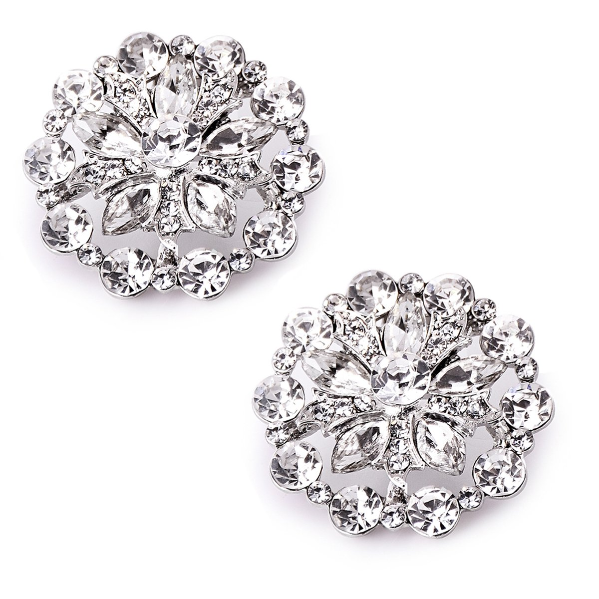 ElegantPark AH01 Fashion Decorative Round Rhinestones Crystal Wedding Party Shoe Clips 2 Pcs Silver