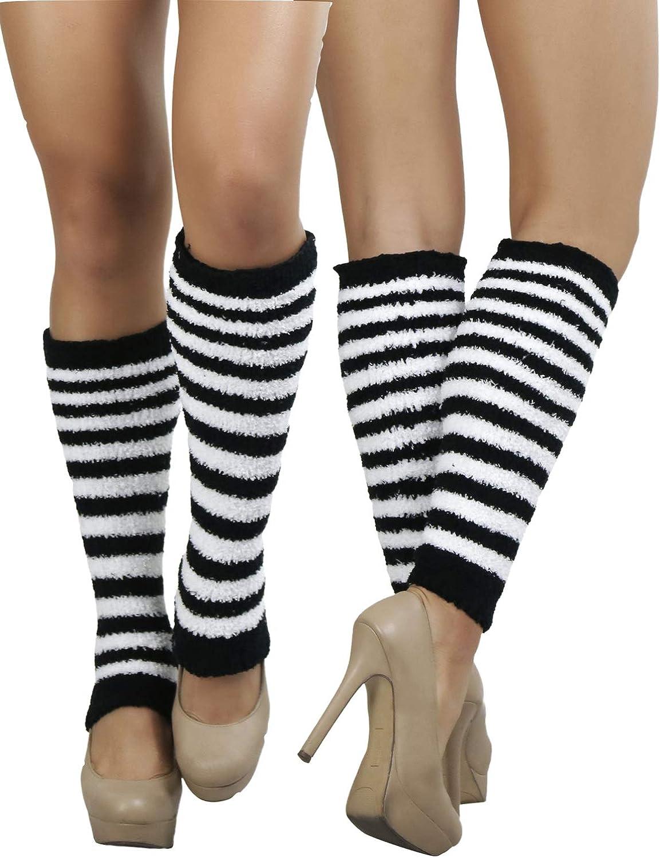 ToBeInStyle Womens Cozy Fuzzy Striped Leg Warmers