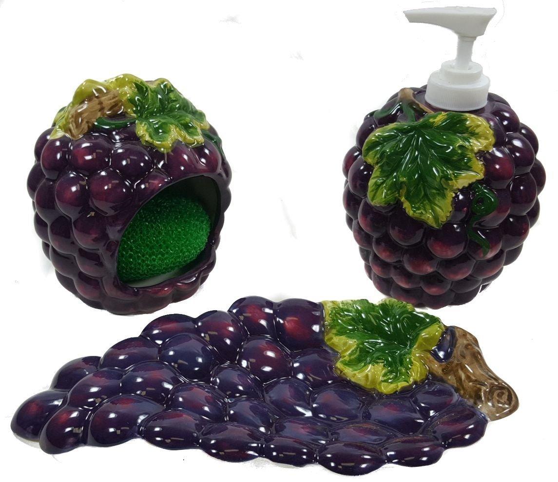 GRAPES 3D Resin & Ceramic theme Kitchen 4 pcs Set NEW KMC/KK-Grape 6049