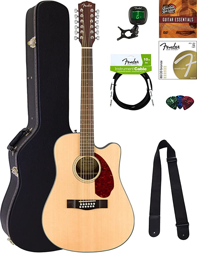 Fender Cd 60 S Dreadnought Acoustic Guitar   All Mahogany Bundle With Hard Case, Tuner, Strap, Strings, Picks, Austin Bazaar Instructional Dvd, And Polishing Cloth by Fender