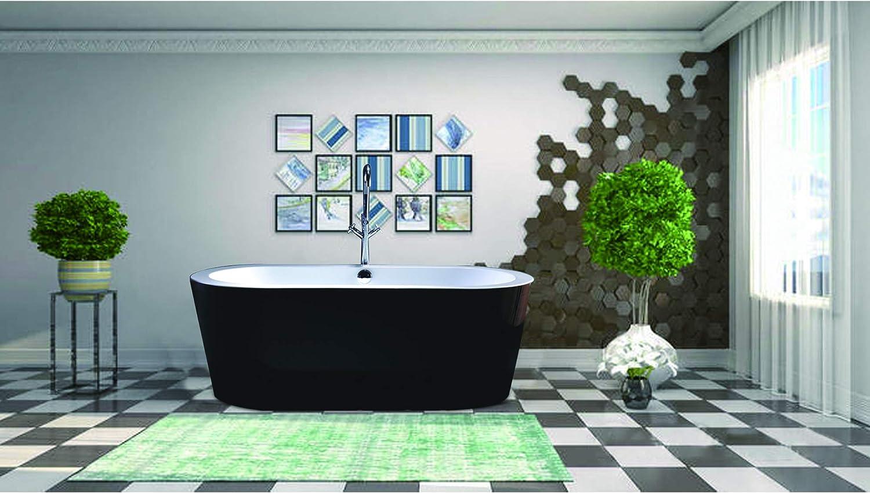 Vanity Art Freestanding Black Acrylic Bathtub Modern Stand Alone Soaking Tub with Polished Chrome Round Overflow and Pop-up Drain VA6812-BL