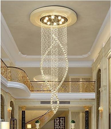 Lámparas De Escalera Dúplex, Lámparas De Araña De Cristal, Lámparas De Araña, Lámparas De Araña Largas Escalera De Caracol (Tamaño : E: 80 * 300cm): Amazon.es: Hogar