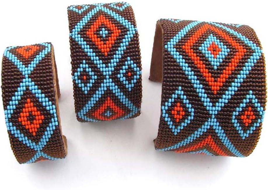 La Vivia marrón rojo azul cuentas de cristal de cuentas pulsera de cuero al por mayor Set de 3