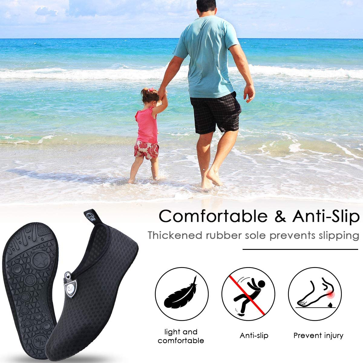   EOMTAM Water Shoes for Women and Men, Water Socks for Women Barefoot Quick-Dry Aqua Yoga Socks, Slip-on for Outdoor Beach Swim Sports Yoga Snorkeling   Water Shoes