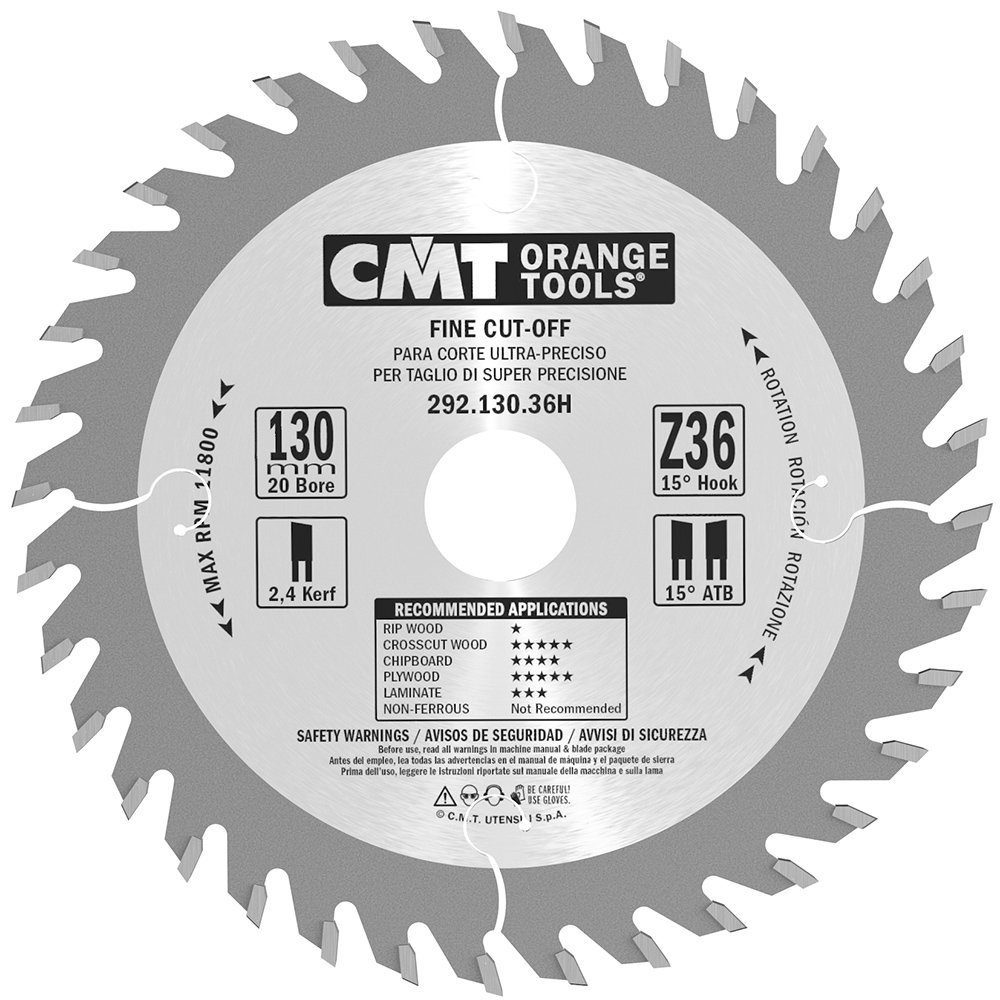 Orange cmt-tools 292,130.36h Saw Cuts of Precision 2.4 130 x 20 x 36 ATB Z CMT ORANGE TOOLS 292.130.36H