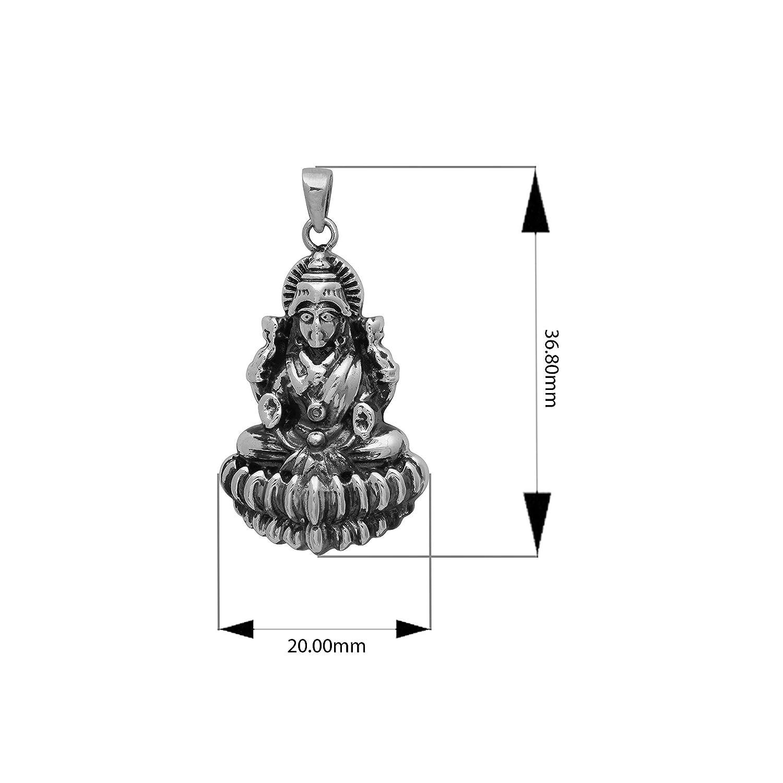Laxmi Mata Oxidized Finish 925 Sterling Silver Goddess Lakshmi Hindu Religious Pendant