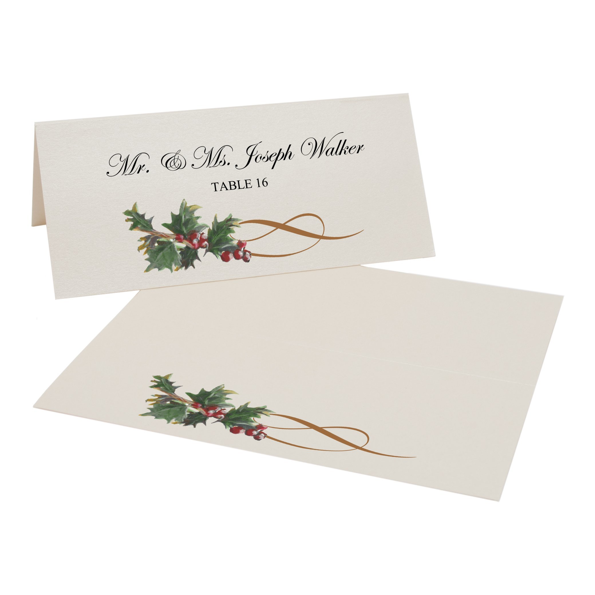 Holly Swirl Easy Print Place Cards, Champagne, Set of 325 (82 Sheets) by Documents and Designs