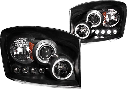 Anzo USA 111195 Chrome Halo Projector Headlight with Clear Lens and Amber Reflector for Dodge RAM
