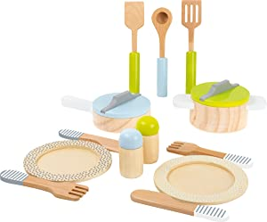 Small Foot Wooden Toys 15 piece Dining & Cutlery wooden playset for Children Play Kitchens designed for children ages 2+