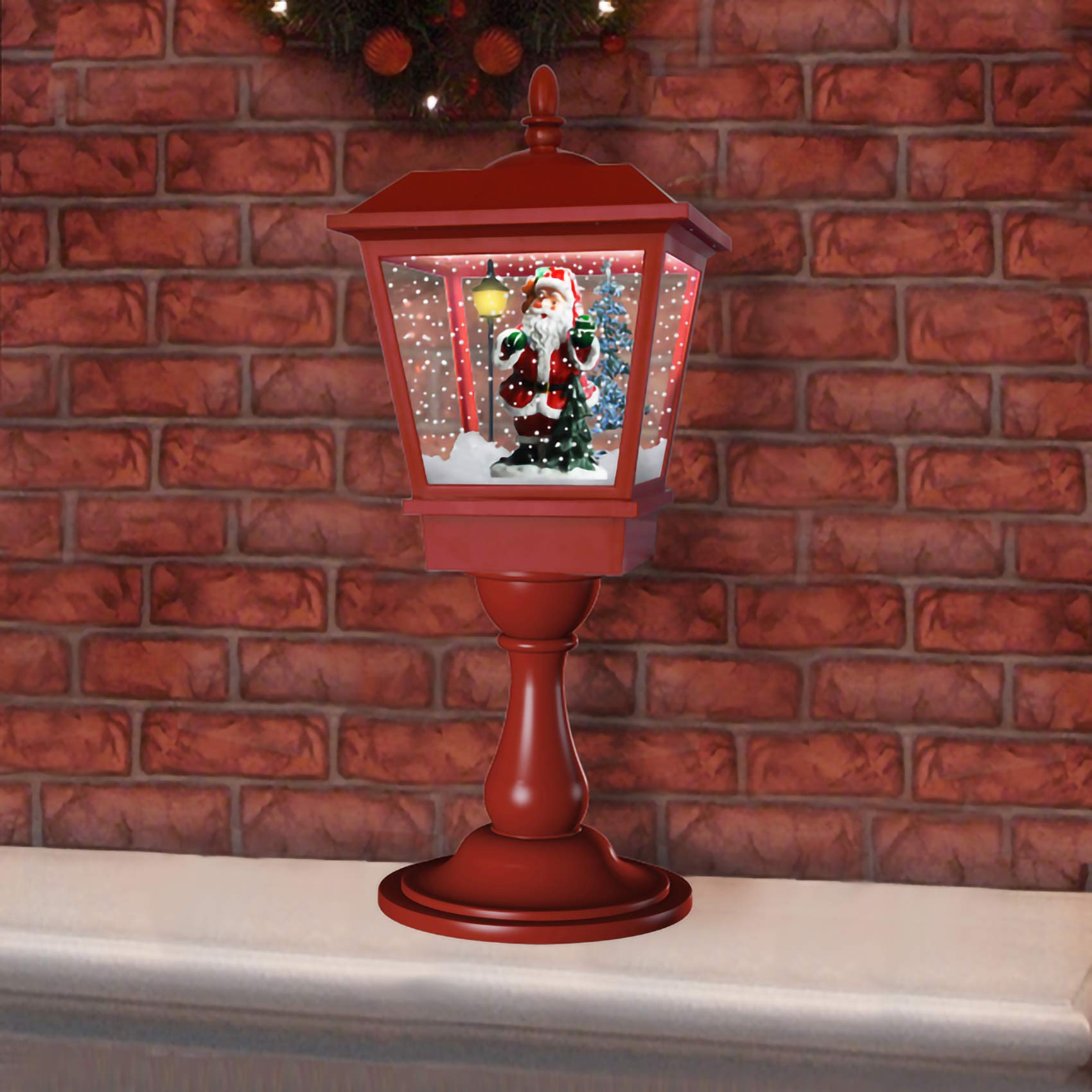 Fraser Hill Farm 25'' Musical Tabletop Lantern in Red Featuring Santa Scene and Snow Function Christmas Decoration