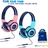 2 Pack of Kids Headphone with Pouch, Kids Safe Headphone with Volume Limited, Wired Headphones for Girls,Boys,On-Ear Kids Headphones for School,Travel (Mint,Pink)