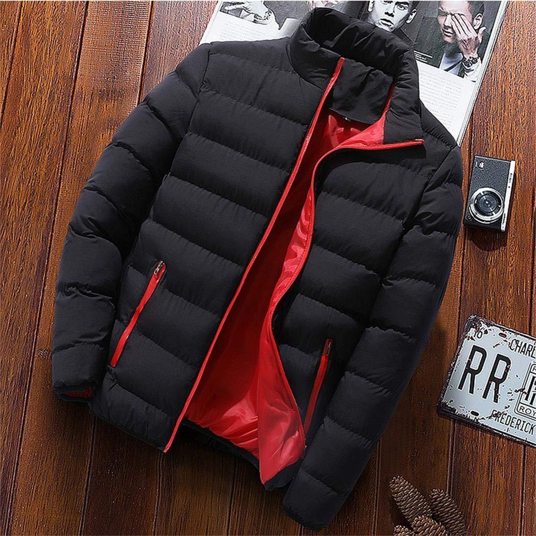 fnemo Men Warm Coat Long Sleeve Stand Collar Zipper Winter Outwear With Pockets Coats