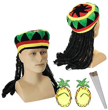 1a718bfab54 Jamaican Rasta Hat with Dreadlocks Wig