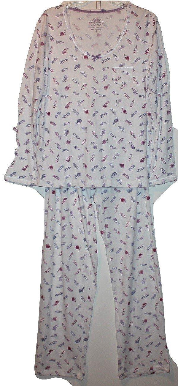 1362337ff883 Carole Hochman Women's 2 Piece Knit Pajama Set w/Shoes Print (M) at Amazon  Women's Clothing store: