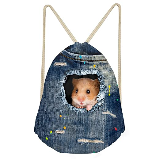 ... Female Large Capacity Shopping Bags Durable  FOR U DESIGNS Hamster Print  Kids Back to School Backpack Blue Sport Fitness Sack Pack hot ... 3312578e074f9