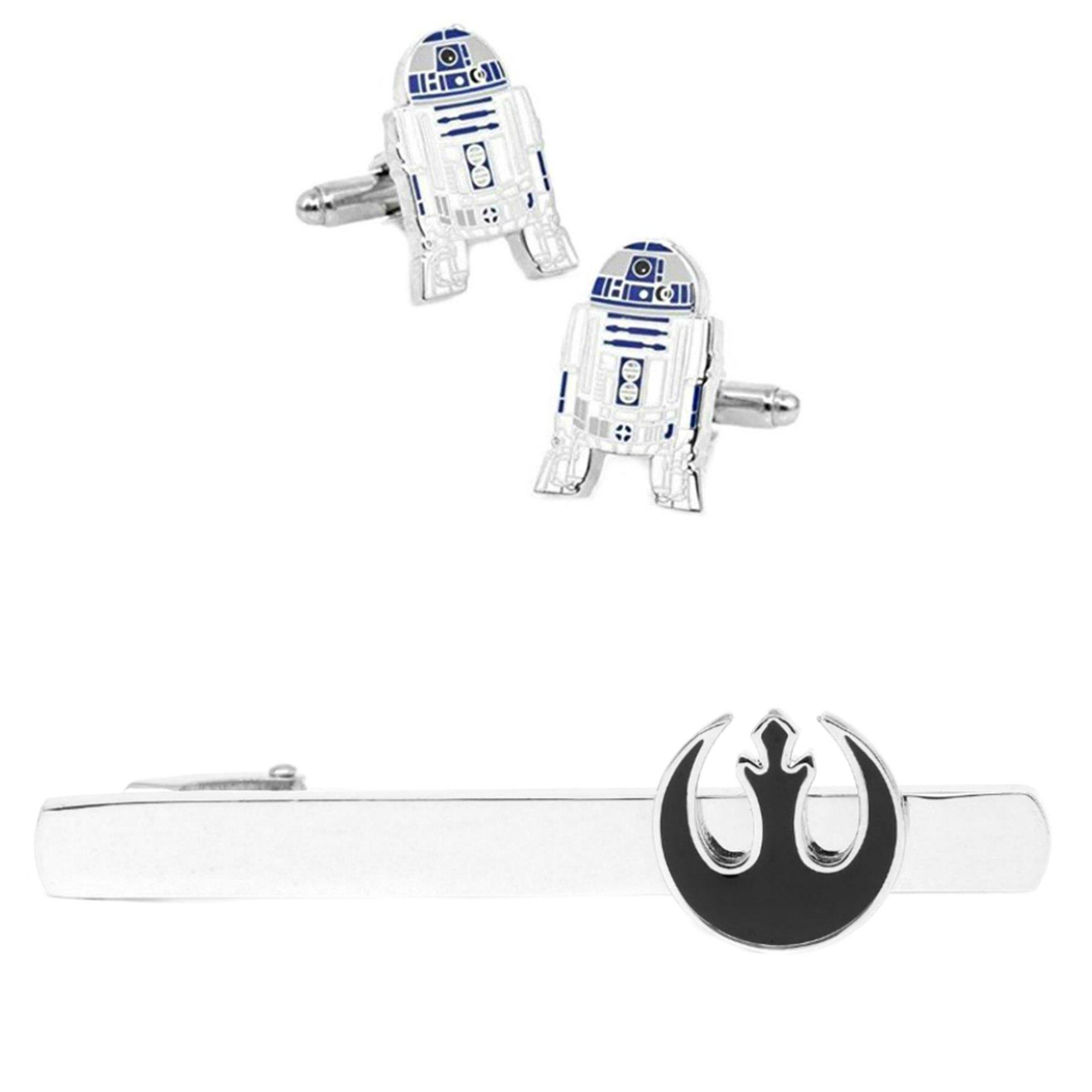 Outlander R2-D2 Cufflink & Rebel Black Tiebar - New 2018 Star Wars Movies - Set of 2 Wedding Logo w/Gift Box by Outlander