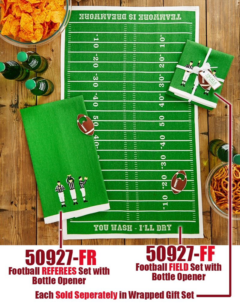 Game Day Football FIELD Dish Towel w Bottle Opener Set
