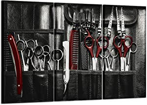 Kreative Arts Large 3 Pieces Modern Canvas Painting Wall Art Vintage Classic Barber Shop Tools Pictures in Black and Red Style Posters and Prints Artwork Great Gift for Barbers or Barber Shops Decor