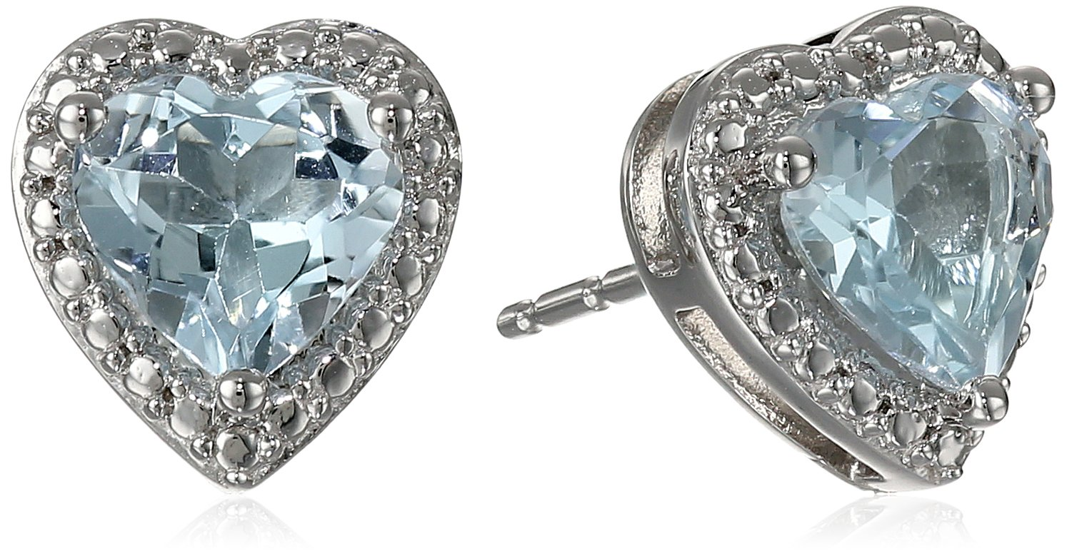 10k White Gold Heart-Shaped Aquamarine Stud Earrings