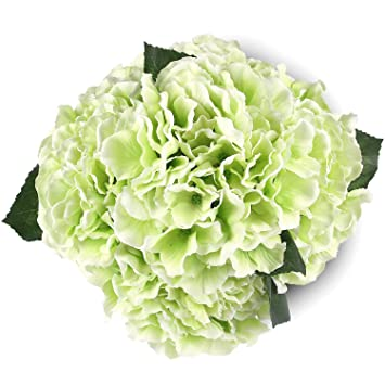 Silk Hydrange Green 5 Heads SOLEDI Artificial Flower Arrangements Bunch  Bridal Bouquet Wedding Party Garden Home