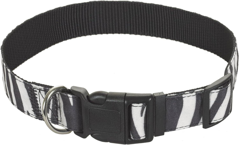 CHAPUIS SELLERIE SLA388 Collar de Perro Ancho 20 mm Largo 45 cm Arn/és Aterciopelado con Estampado de Cebra Talla M