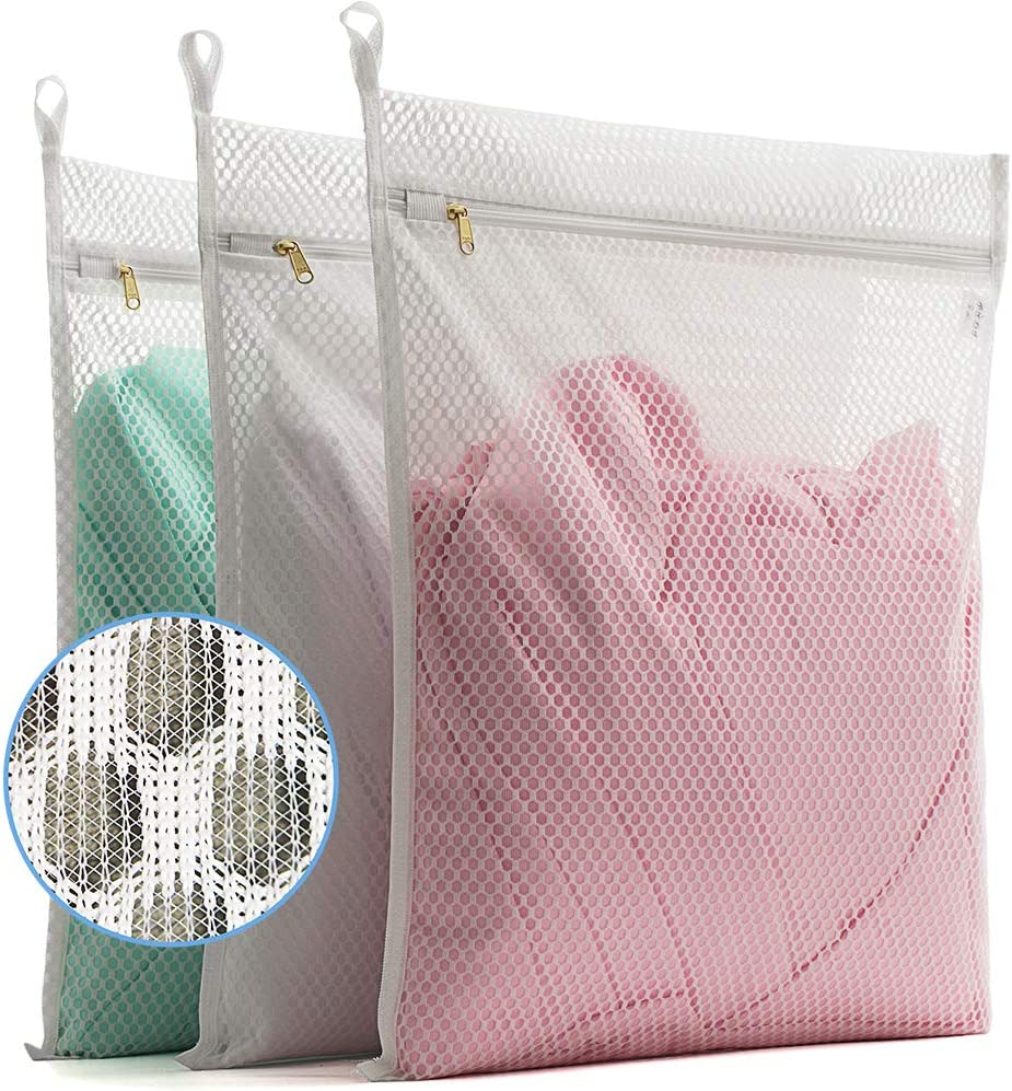 TENRAI 3 Pack (3 Large) Delicates Laundry Bags, Socks Fine Mesh Wash Bag for Underwear, Lingerie, Bra, Boxer, Use YKK Zipper, Have Hanger Loops (White, S Grade, CQS)