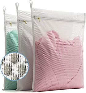 TENRAI 3 Pack (3 Large) Delicates Laundry Bags, Socks Fine Mesh Wash Bag for Underwear, Lingerie, Bra, Boxer, Use YKK Zipper, Have Hanger Loops (White, S Grade, CQS)