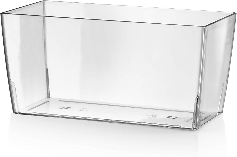 Teraplast 10447026 Maceta, 26 x 13 x 13 cm, Transparente, 26x13x13 cm