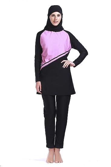 604802be2b Women Muslim Swimwear Full Coverage Islamic Burkini Swimsuit 3 Pieces Full  Body with Hijab Sun Protection
