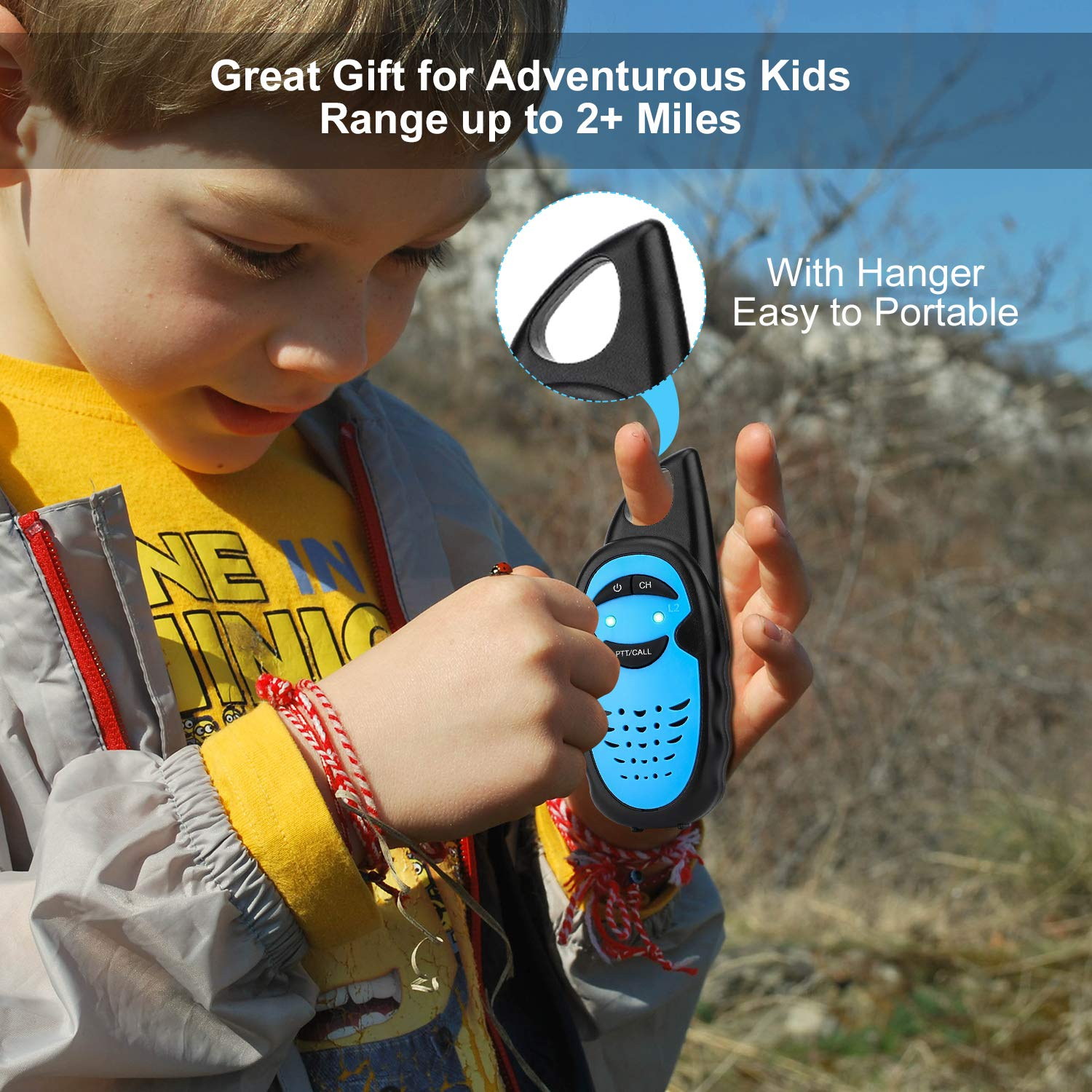 WES TAYIN Upgraded Walkie Talkies for Kids, Up to 2-Mile and 3 Channels Easy to Use Walkie Talkies for Toddlers, Toy Walkie Talkies for Little Hands Boys Gifts by WES TAYIN (Image #5)